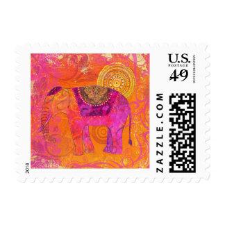 Happy Elephant Postage Stamp