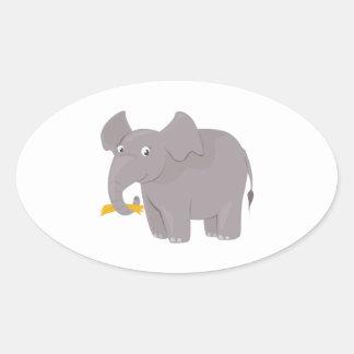 Happy Elephant Oval Sticker