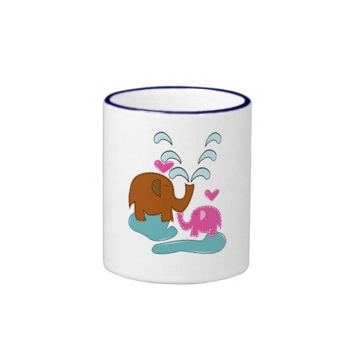 Happy Elephants Ringer Coffee Mug