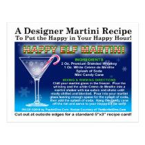 Happy Elf Christmas Martini Recipe Postcard