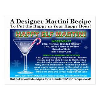 Happy Elf Christmas Martini Recipe Postcard