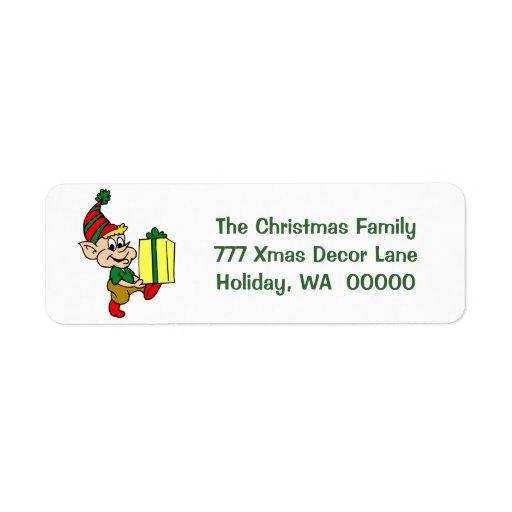 Happy Elf Merry Christmas Card Envelopes Address Label