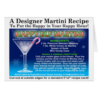 HAPPY ELF MINT CHRISTMAS COCKTAIL RECIPE CARD