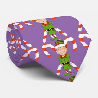 Happy Elf with Candy Cane Tie