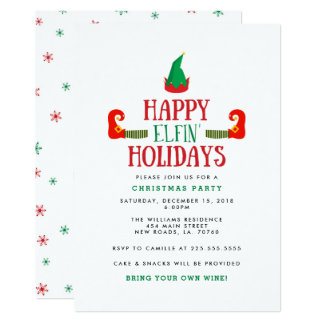Happy Elfin Holidays Christmas Party Card