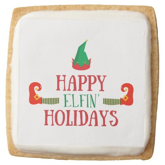Happy Elfin Holidays Christmas Square Shortbread Cookie