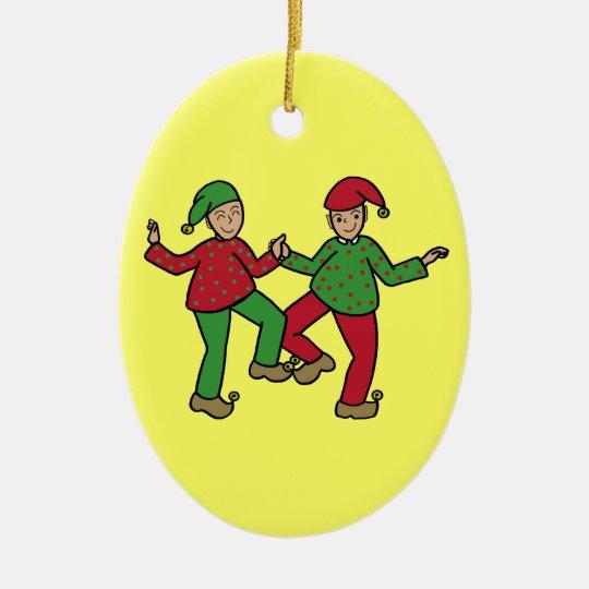 Happy elves ceramic ornament
