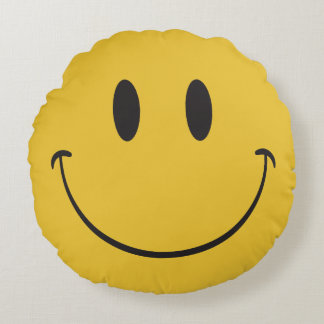 happy emoji round pillow