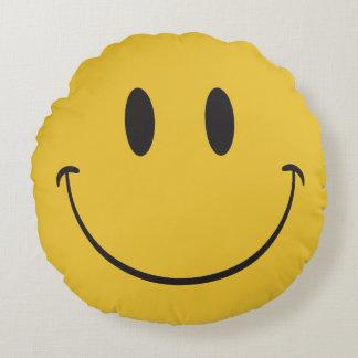 happy emoji round pillow