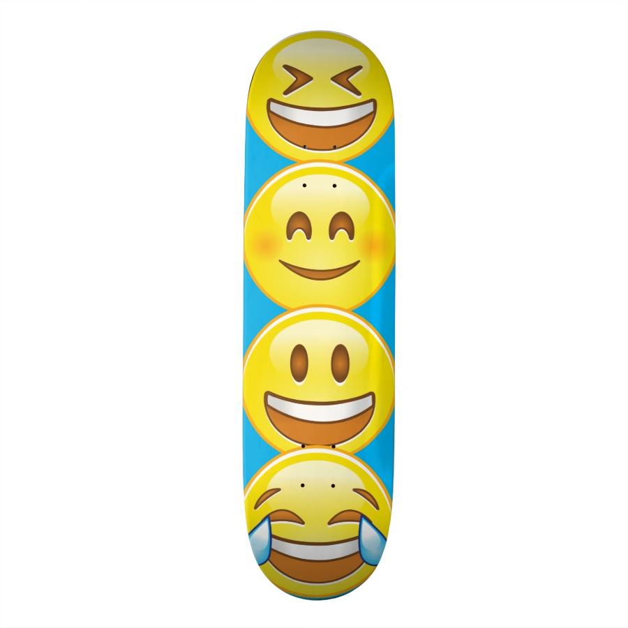 Happy Emoji Skateboard : Customizable, Supreme Hard-Rock Maple Deck