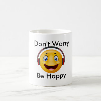 Happy emoticon listening music coffee mug