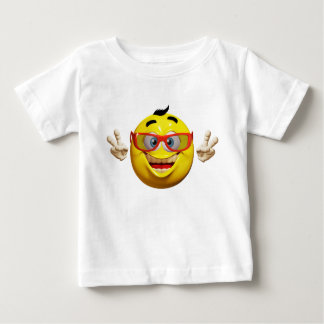 Happy emoticon with peace sign baby t-shirt