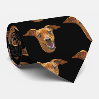 Happy Energetic Mixed Breed Dog Pattern on Black Tie