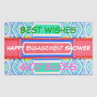 Happy ENGAGEMENT Shower - Chinese Lucky Pattern Rectangular Sticker