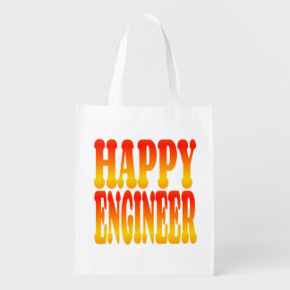Happy Engineer in Cheerful Colors Reusable Grocery Bag