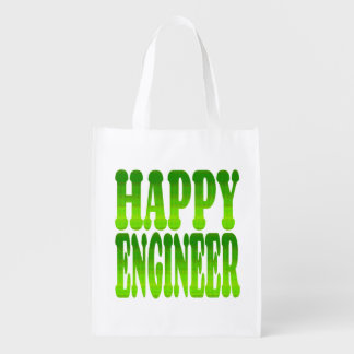 Happy Engineer in Green Grocery Bag