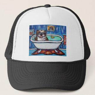 Happy English Bulldog bath Trucker Hat