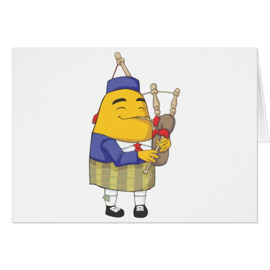 Happy Englishman Potato Playing Flute Card
