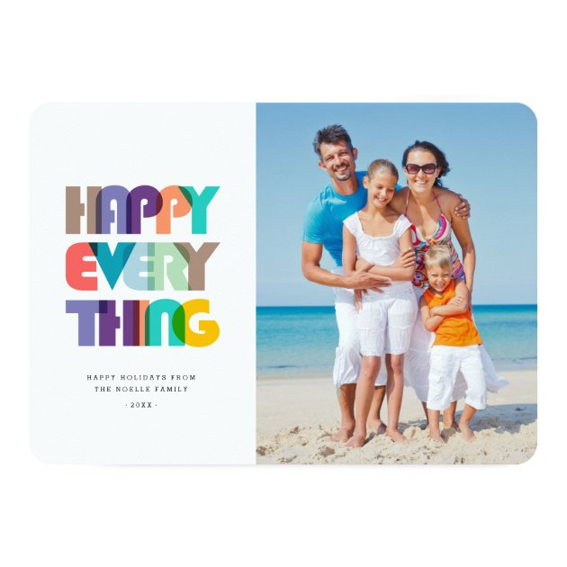 Happy Everything Bold & Bright Holiday Photo Card (back side)