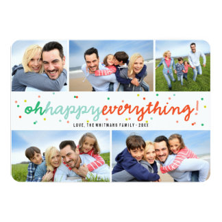 Happy Everything Dots Holiday Photo Collage Card