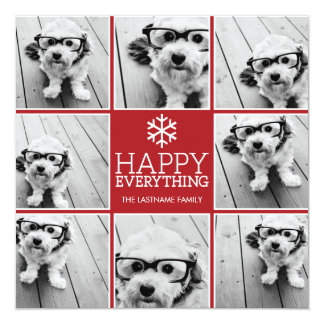 Happy Everything Holiday Photo Collage Card
