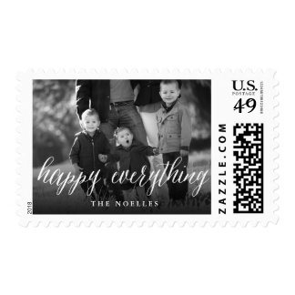 Happy Everything Script Holiday Photo Stamps