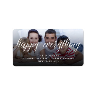 Happy Everything Simple Script Holiday Photo Label