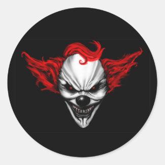Happy Evil Clown Red Hair Classic Round Sticker