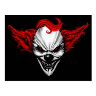 Happy Evil Clown Red Hair Postcard
