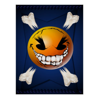 Happy, Evil Smiley Face Print