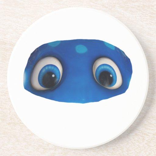 Happy Eyes Blue Cutout Drink Coaster