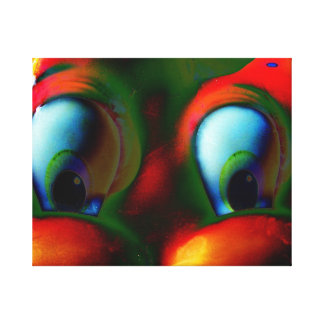 Happy Eyes Solarized Crazy Red Green Canvas Print