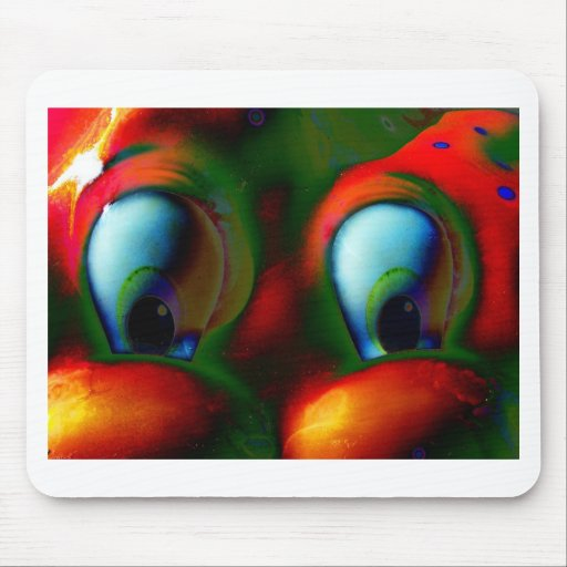 Happy Eyes Solarized Crazy Red Green Mousepads