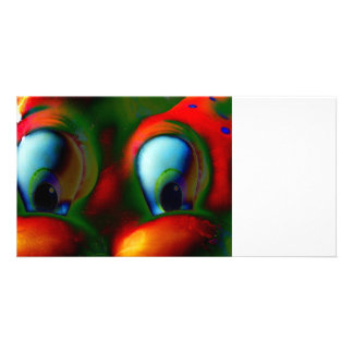 Happy Eyes Solarized Crazy Red Green Photo Card
