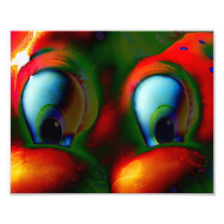 Happy Eyes Solarized Crazy Red Green Photo Print