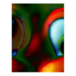 Happy Eyes Solarized Crazy Red Green Postcard