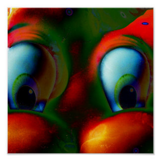 Happy Eyes Solarized Crazy Red Green Poster