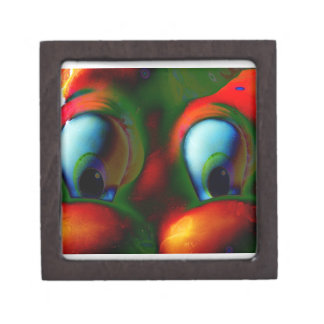 Happy Eyes Solarized Crazy Red Green Premium Trinket Boxes