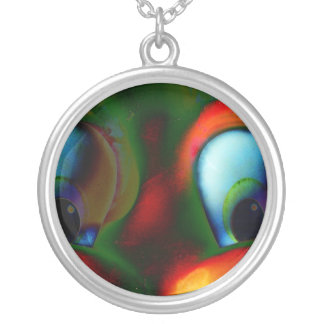 Happy Eyes Solarized Crazy Red Green Silver Plated Necklace
