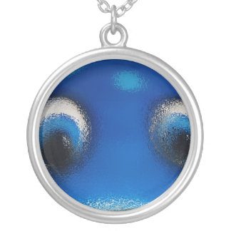 Happy Eyes Stingray Blue Ripple Silver Plated Necklace