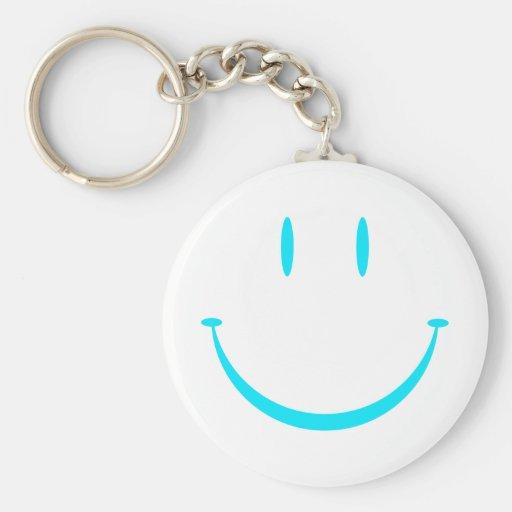 Happy Face: Aqua Keychain