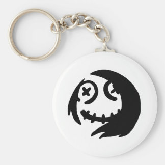 Happy Face Basic Round Button Keychain