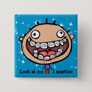 Happy face. Braces. Orthodontist. Customizable Pinback Button