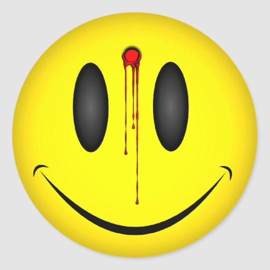 Happy Face Bullet Hole Classic Round Sticker