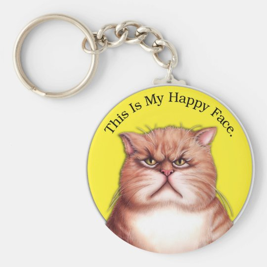 Happy Face cat Keychain