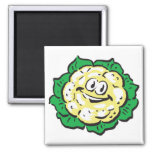 happy face cauliflower 2 inch square magnet