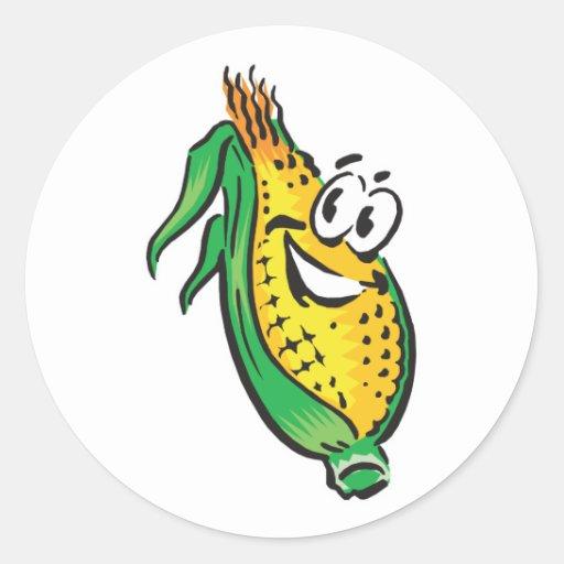 happy face corn on the cob round sticker
