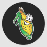 happy face corn on the cob sticker
