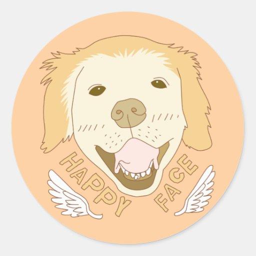 Happy face dog doodle art sticker zazzle for Doodle art faces