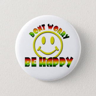 Happy Face - Don't Worry Be Happy Rastafari Colors Button